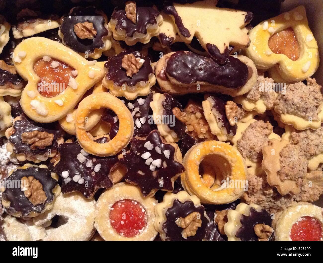 Variedad de X-Mas Bohemio Cookies , República Checa, Europa Imagen De Stock