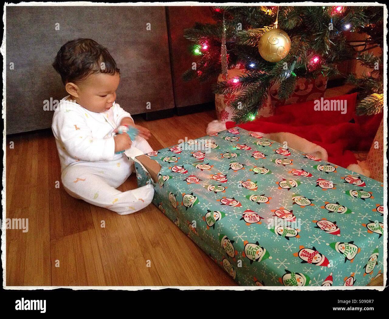 La Primera Navidad del Bebé Imagen De Stock
