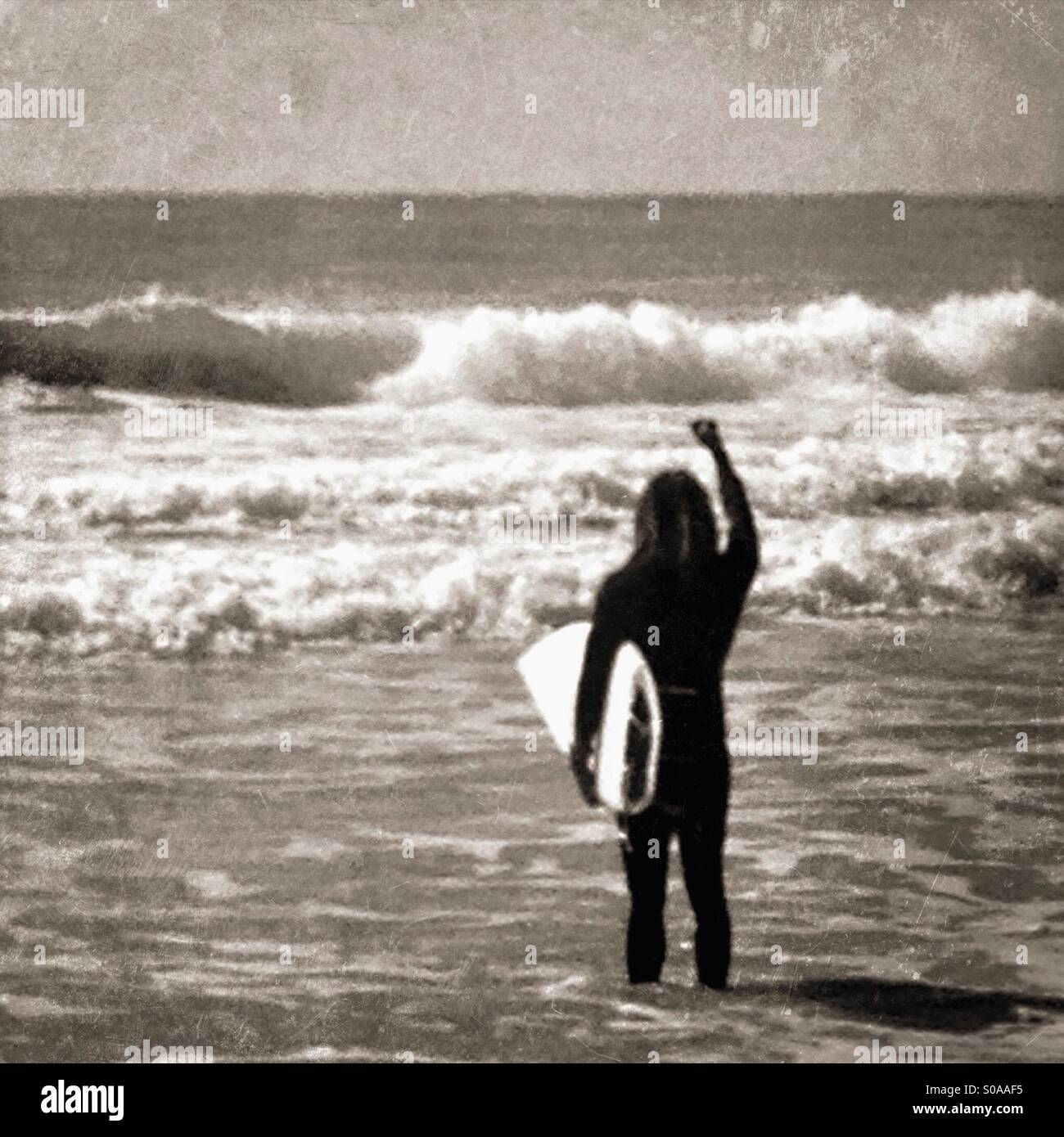 Emocionada surfer mirando a las olas. Foto de stock
