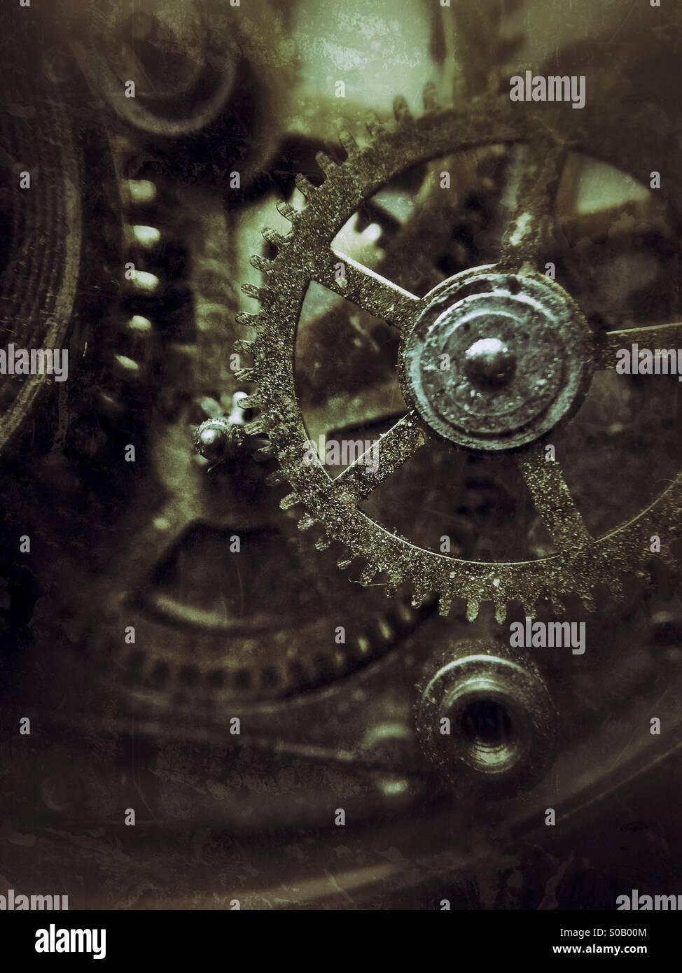 Imagen Macro de piezas de reloj de bolsillo. Imagen De Stock