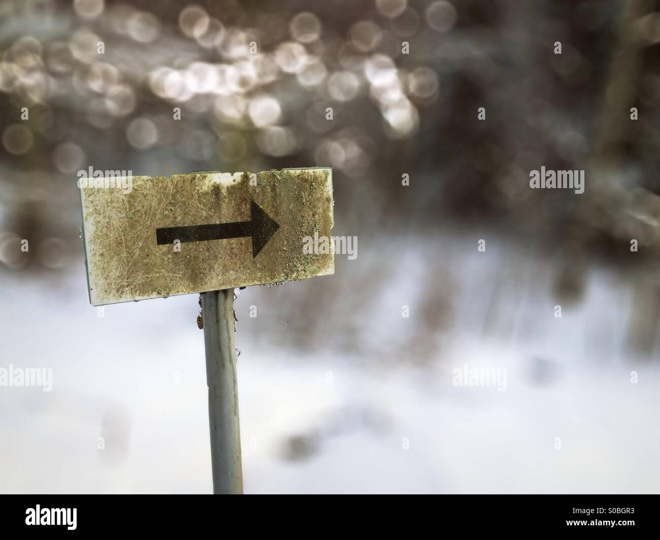 Señal de flecha con bokeh y nieve en segundo plano. Imagen De Stock