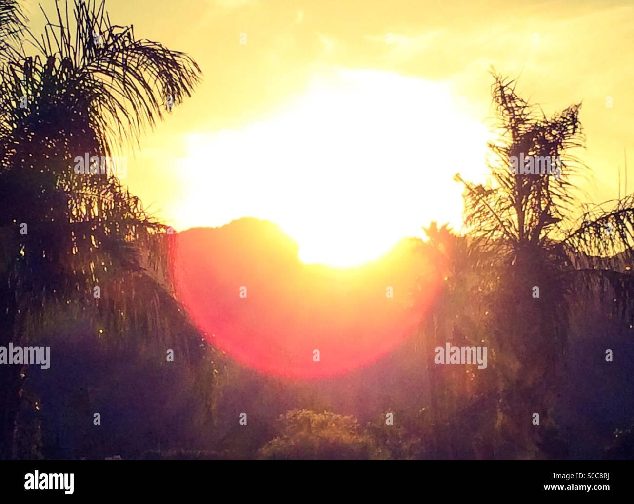 Atardecer en Palm Springs, California Foto de stock