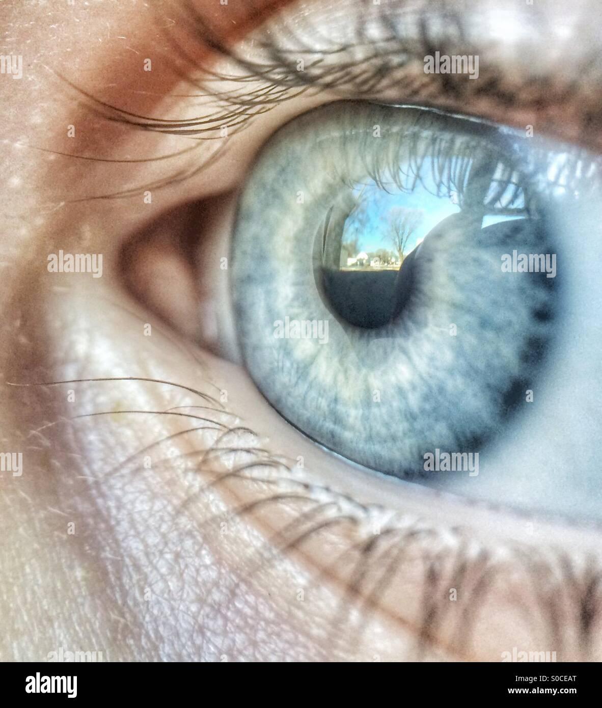 Macro Fotografía de un ojo del niño reflejando la escena que está mirando Imagen De Stock