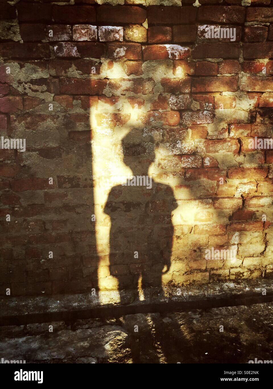 La sombra de un niño pequeño en un muro de ladrillo Foto de stock