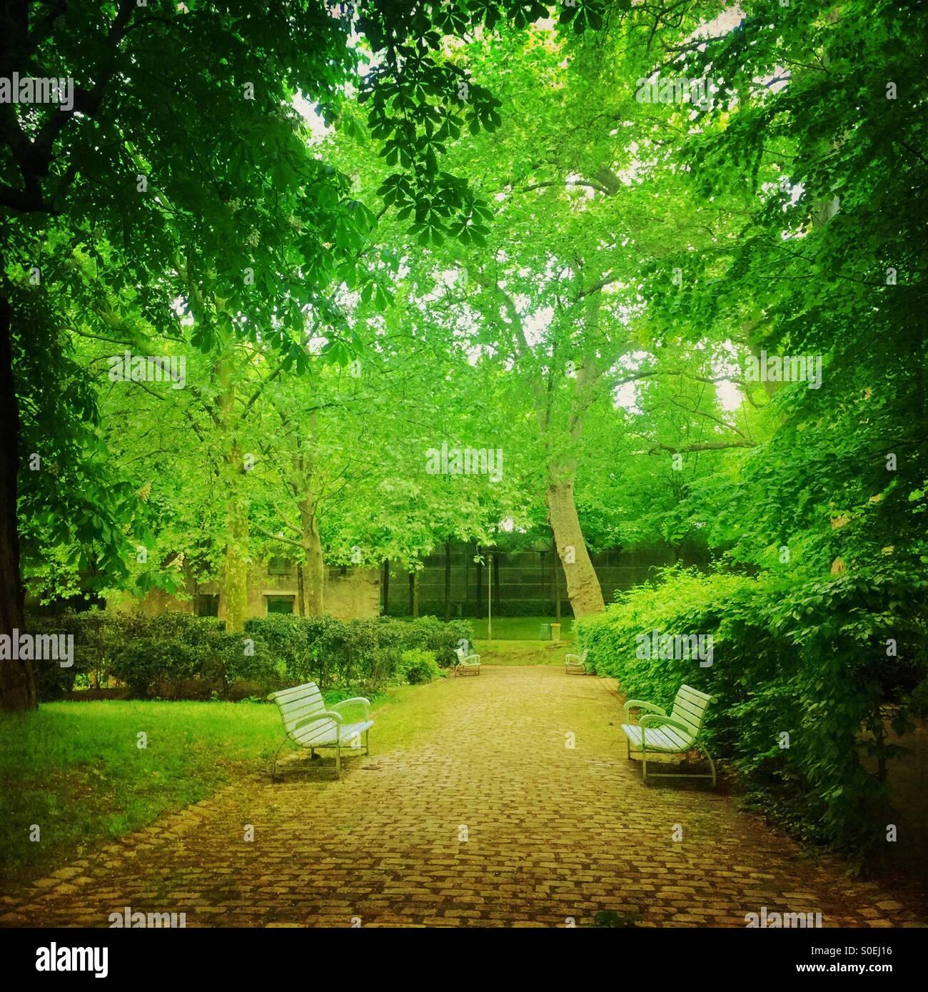 Campo Verde Parc de Bercy con pavimento de piedra, bancas, árboles y follaje de primavera frescos en París, Francia. Vintage superposición de textura. Foto de stock