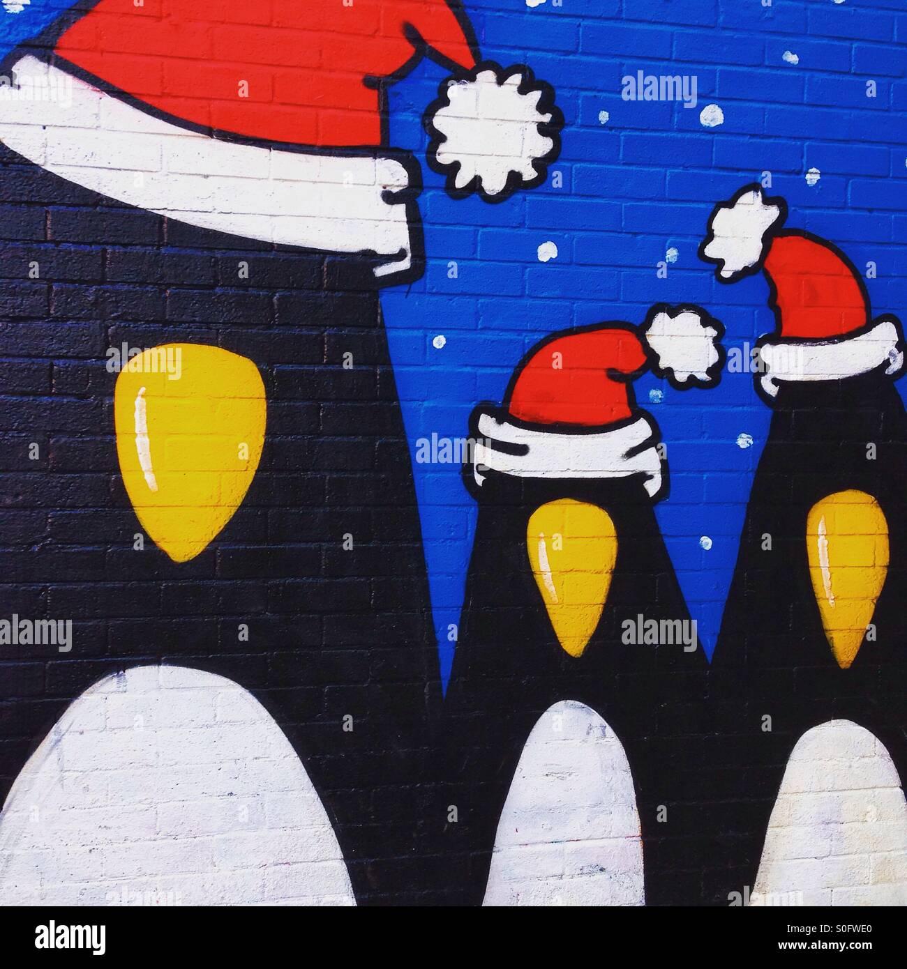 Los pingüinos de Navidad Imagen De Stock