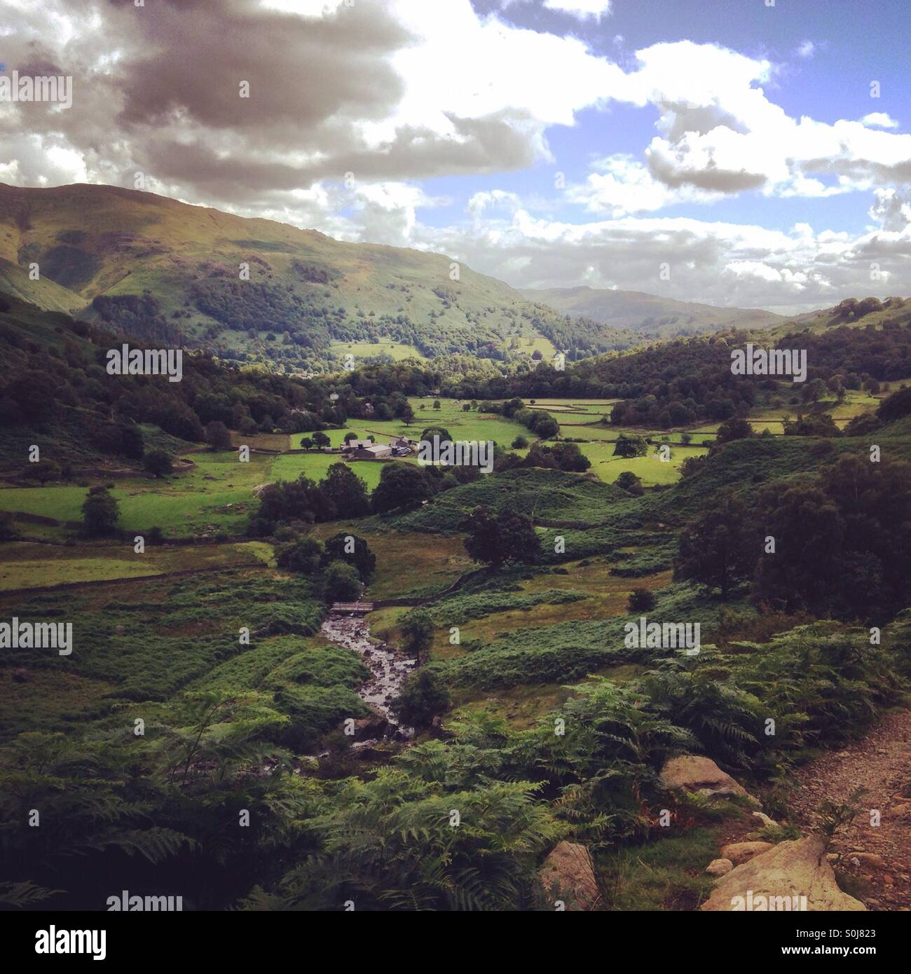 La vista de Easedale,Lake District, RU Imagen De Stock