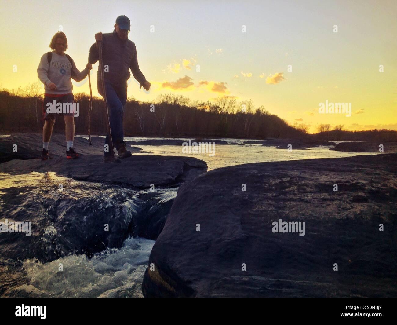 Explorar el río Potomac, Harper's Ferry, Virginia del Oeste Imagen De Stock