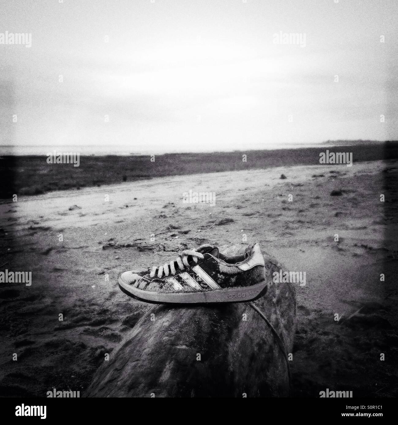 Unas zapatillas de entrenamiento, en un registro, en una playa Imagen De Stock
