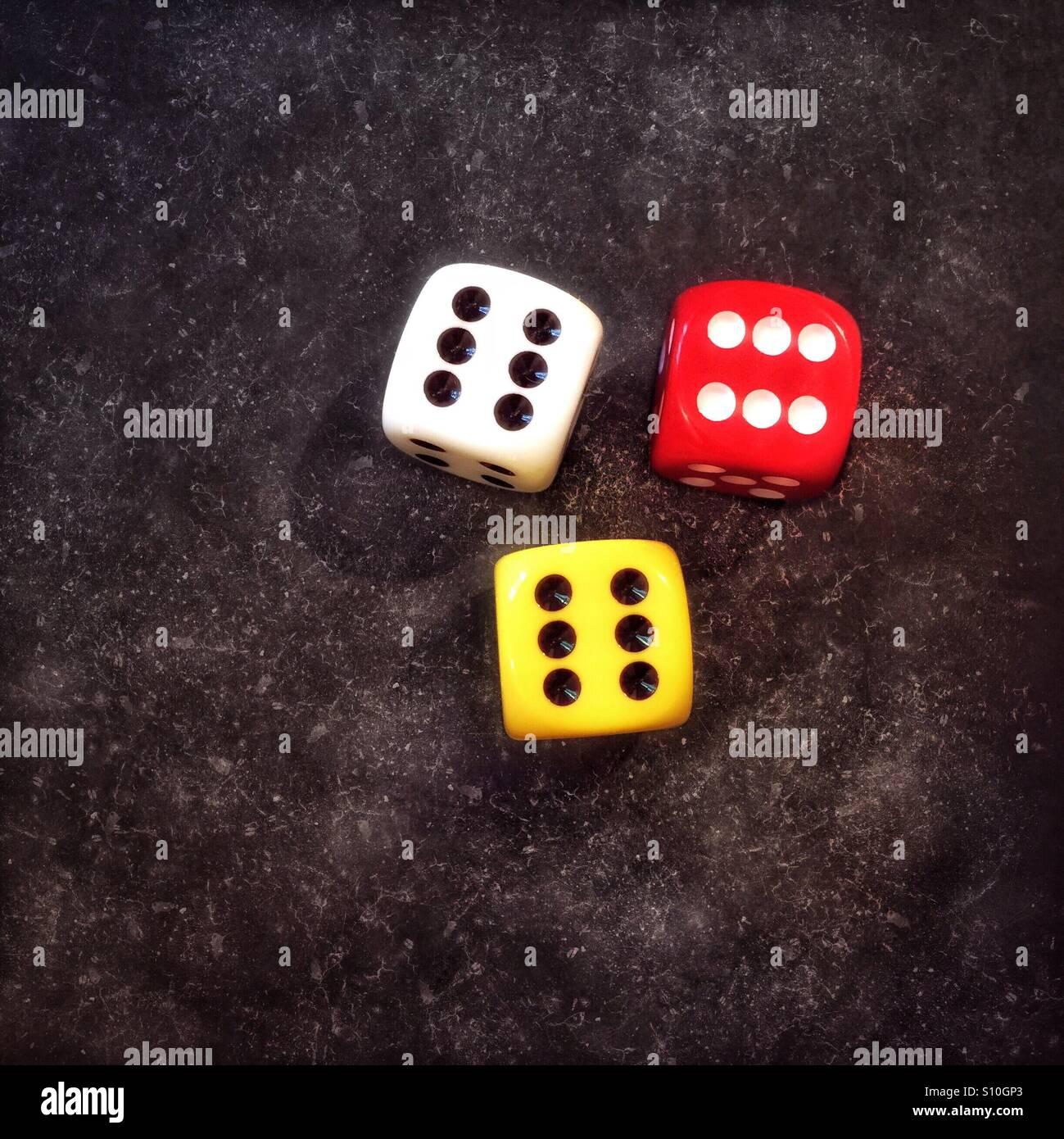 Tres lucky dados Imagen De Stock