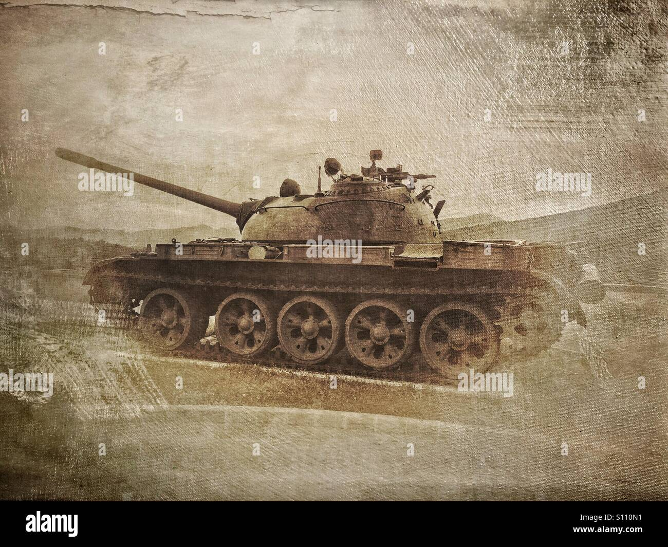 Tanque T-55 en la exhibición en el Parque de la historia militar de Pivka, Eslovenia Imagen De Stock
