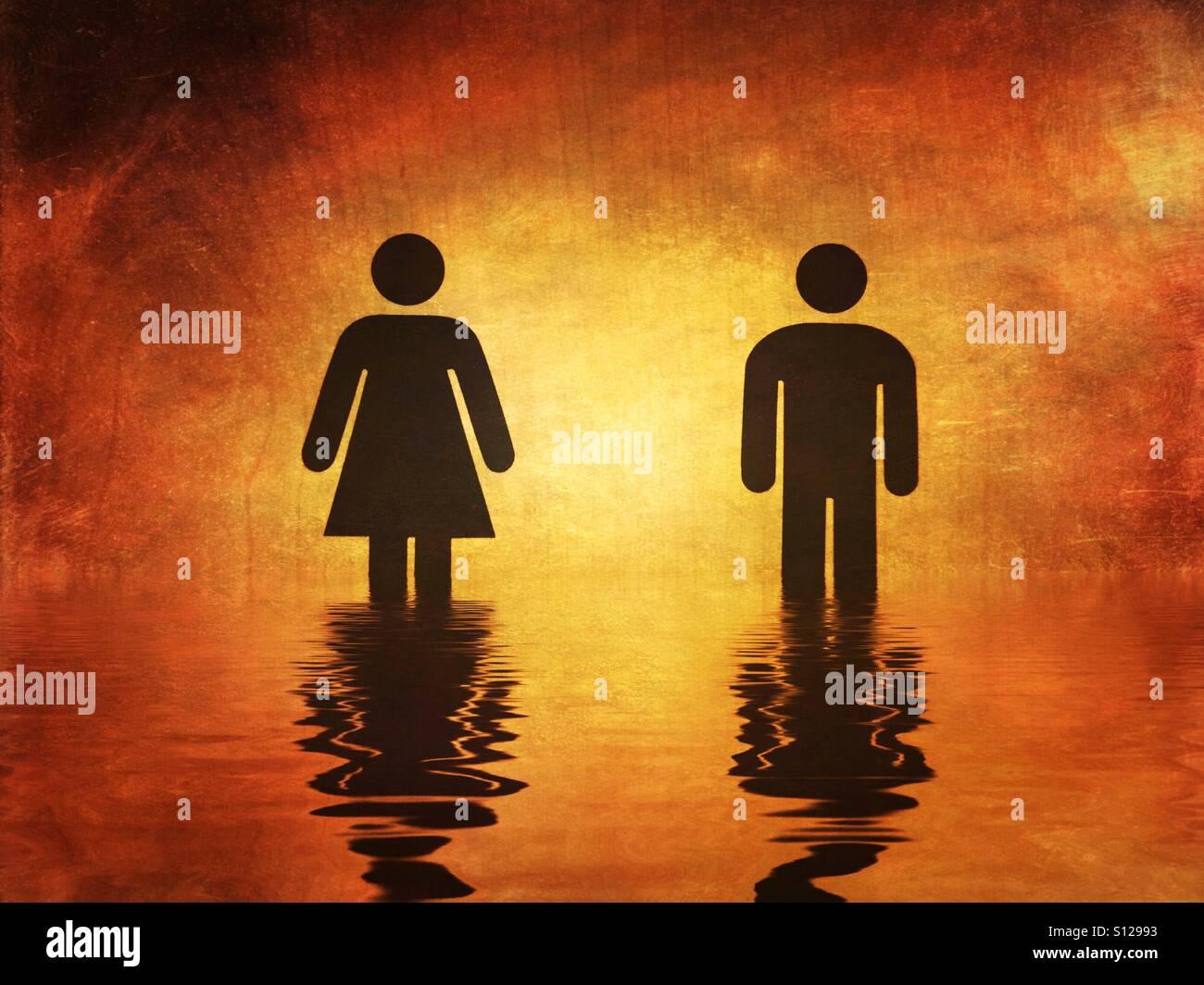 Mujer y hombre símbolo con efecto de reflejo de agua añadida Imagen De Stock
