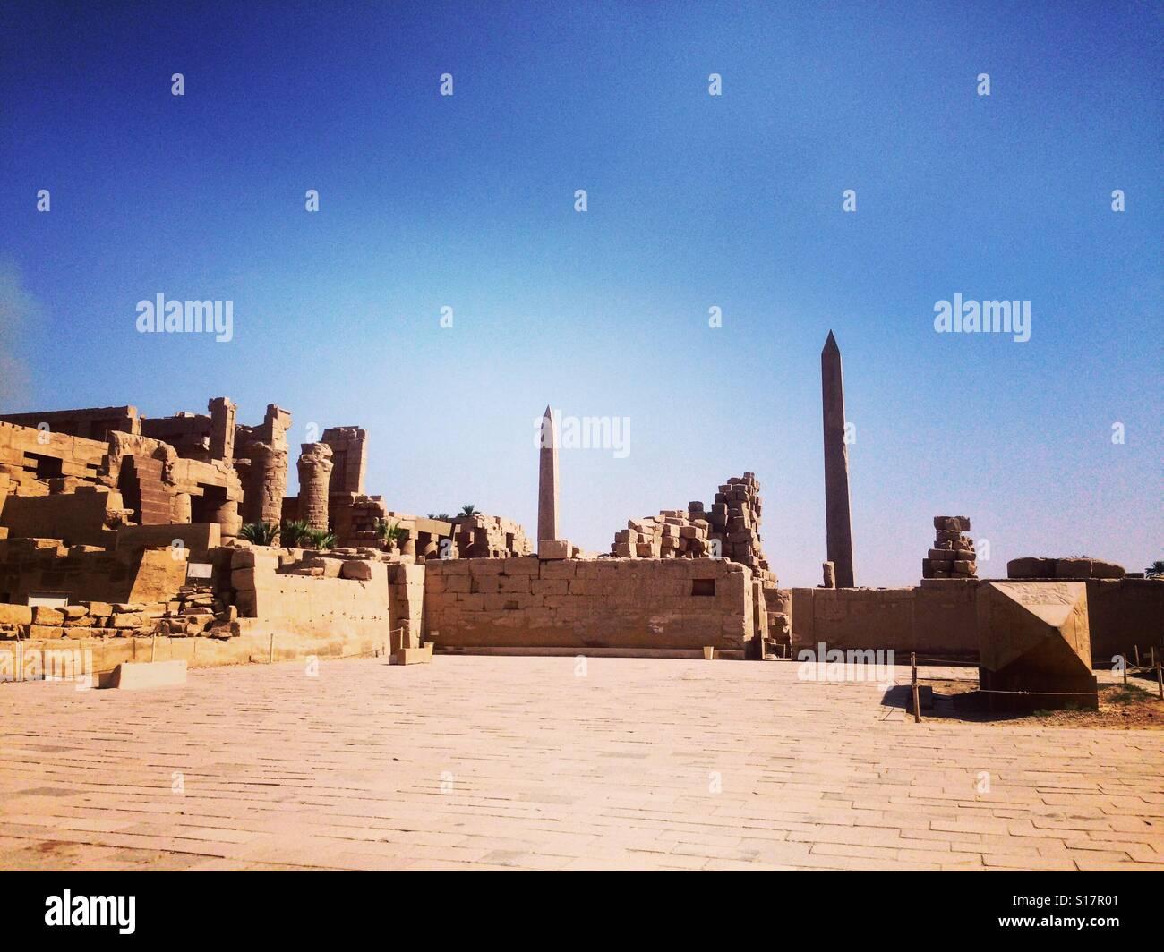Parte posterior del templo de Karnak, Luxor, Egipto Imagen De Stock