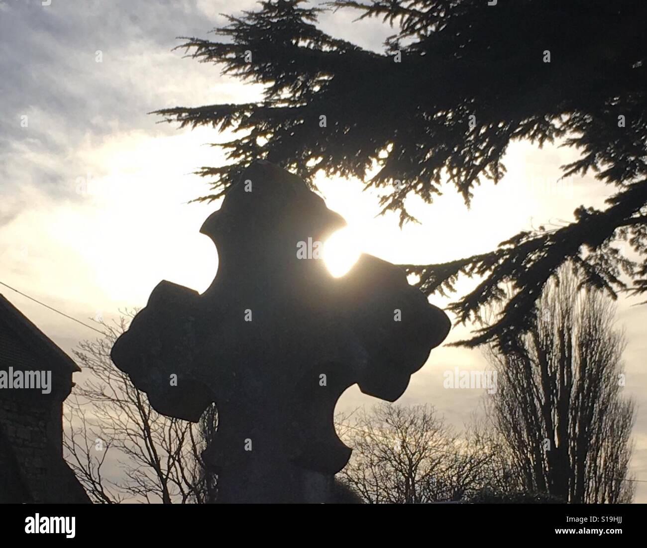 Lápida en la luz del sol Foto de stock