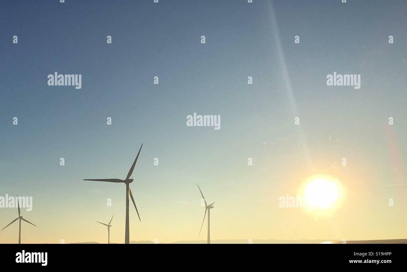 Turbinas de viento al amanecer. Foto de stock