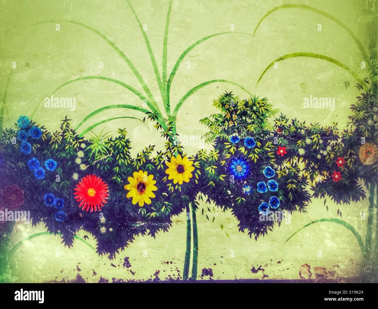 Pintura Mural De Flores Y Hojas Foto Imagen De Stock 310613826