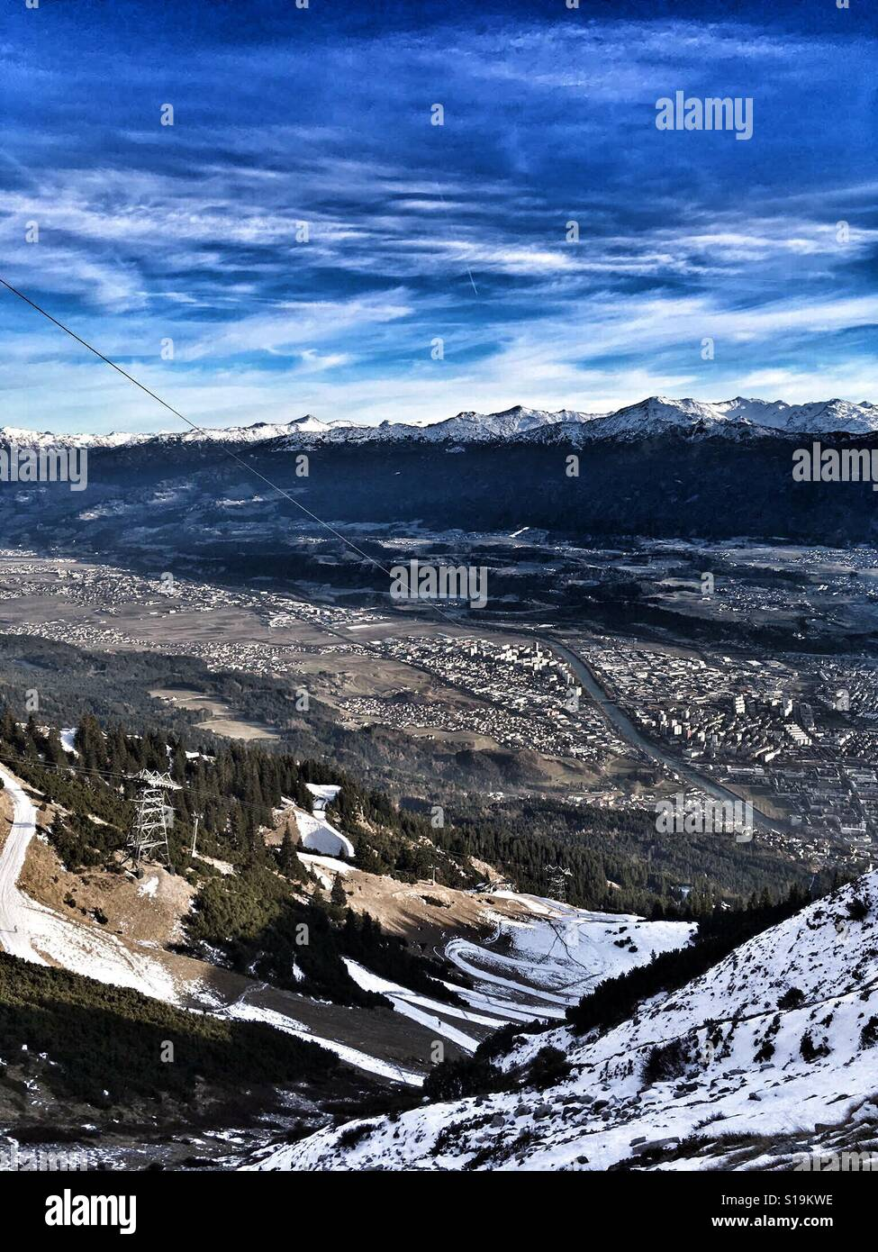 Mountain View de Innsbruck en Austria Foto de stock