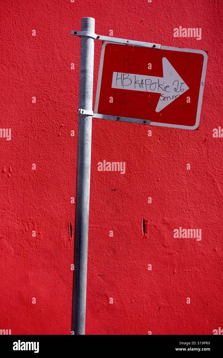 Firmar en la calle en Ciudad del Cabo. Foto de stock