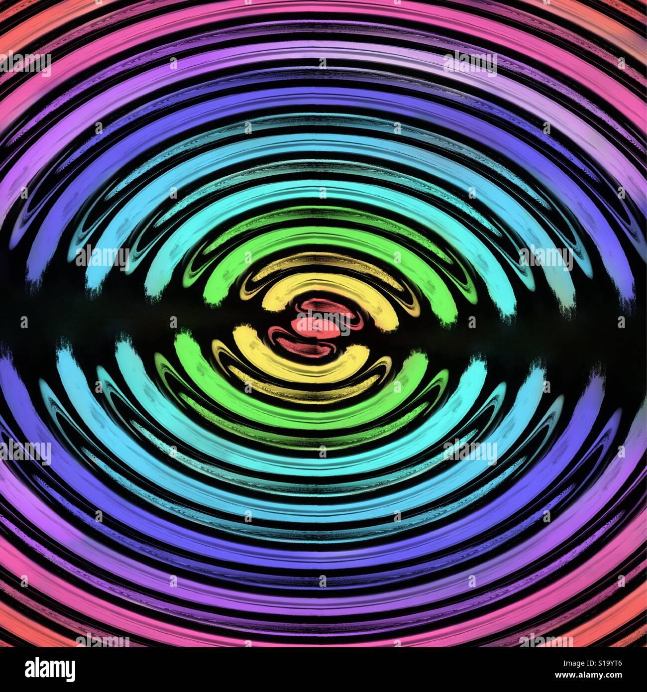 Agua colorida resumen antecedentes con onda circular rizado Foto de stock