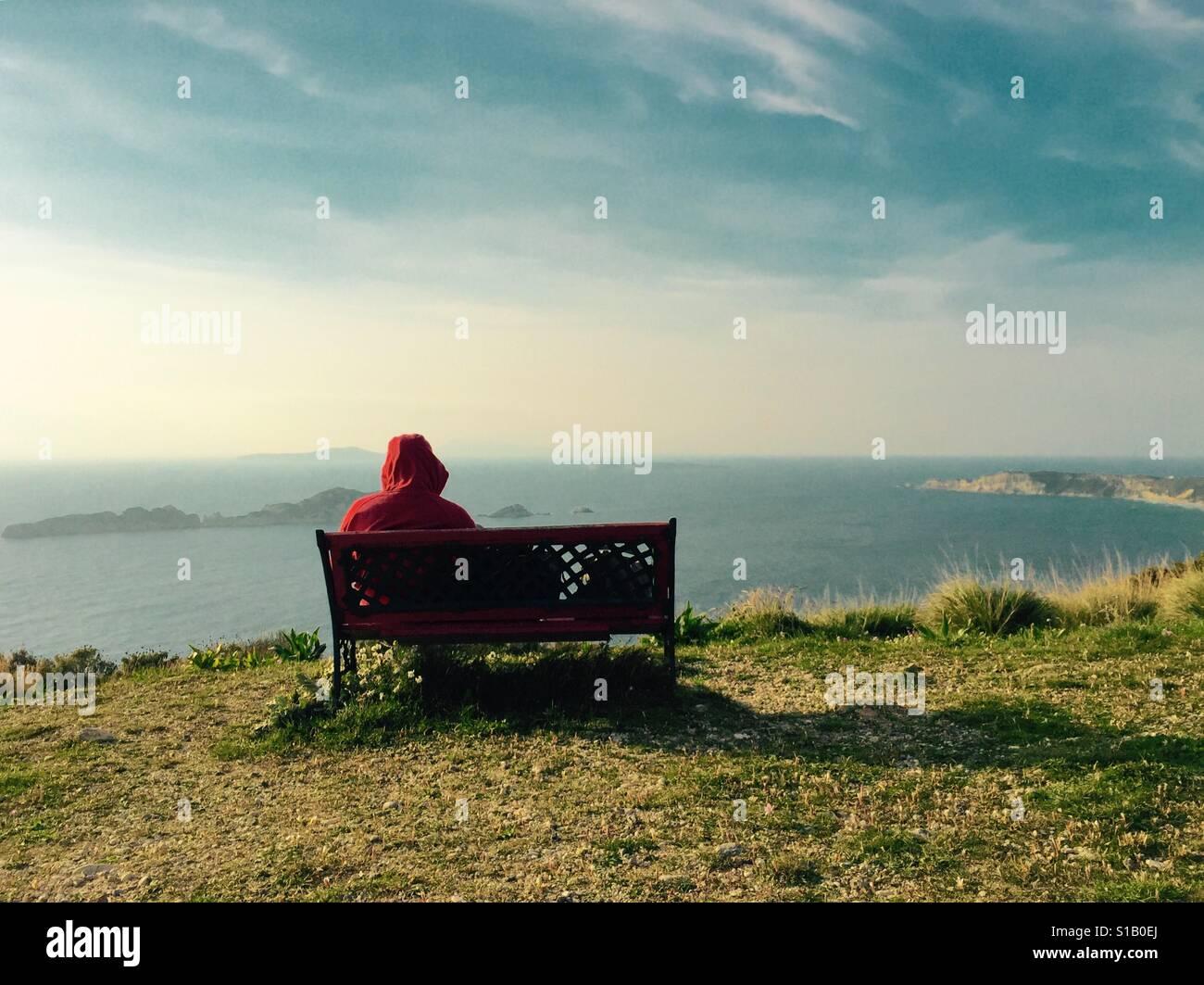 Sólo el hombre mirando al mar desde un banco. Imagen De Stock