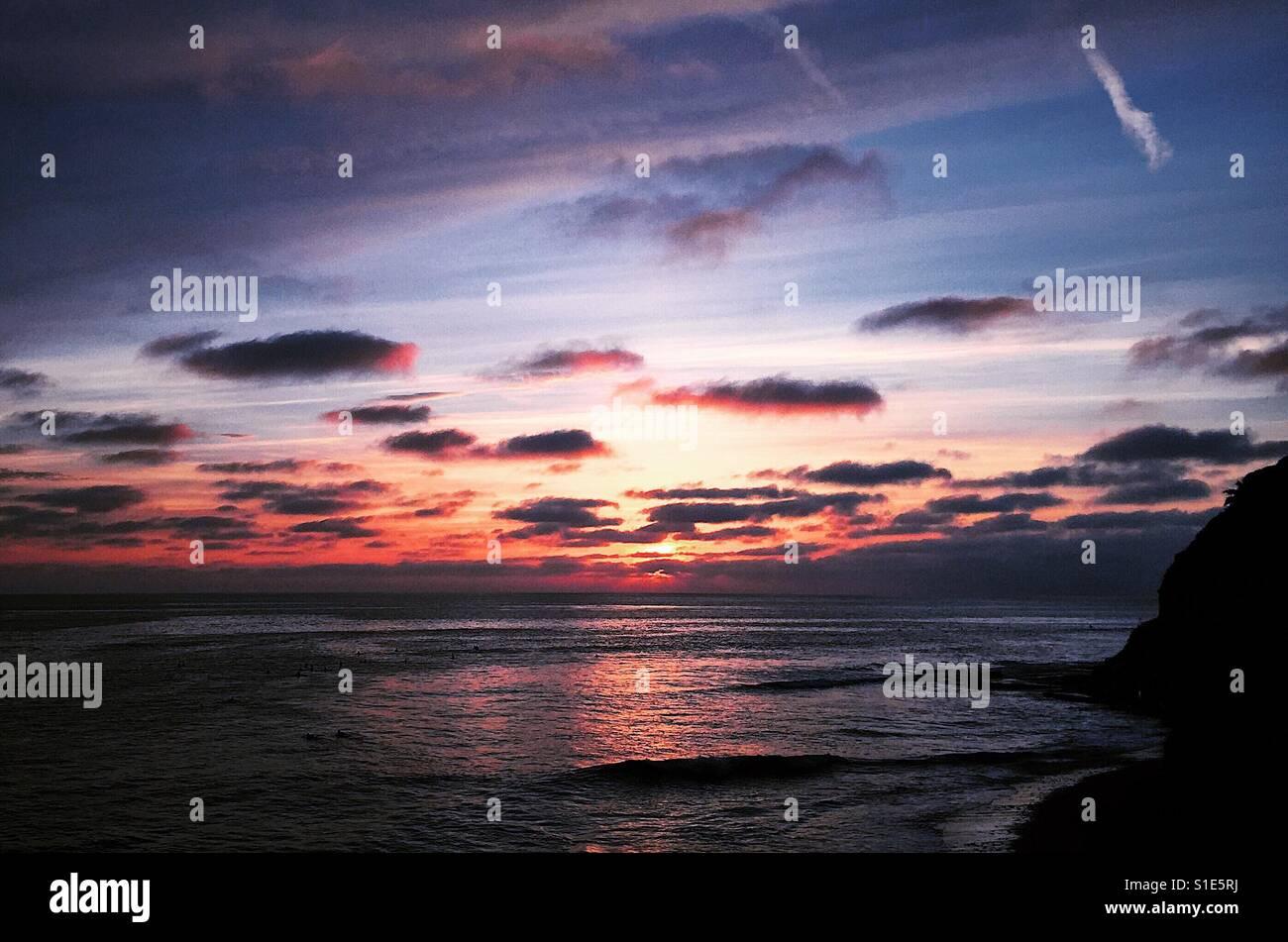 Romántica puesta de sol Foto de stock