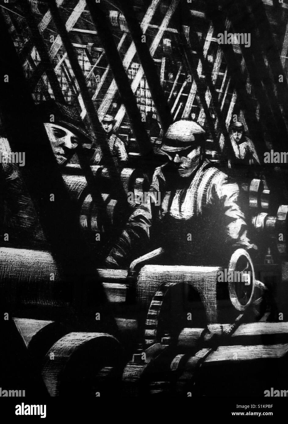 Los trabajadores de la fábrica de ilustraciones en blanco y negro. Foto de stock