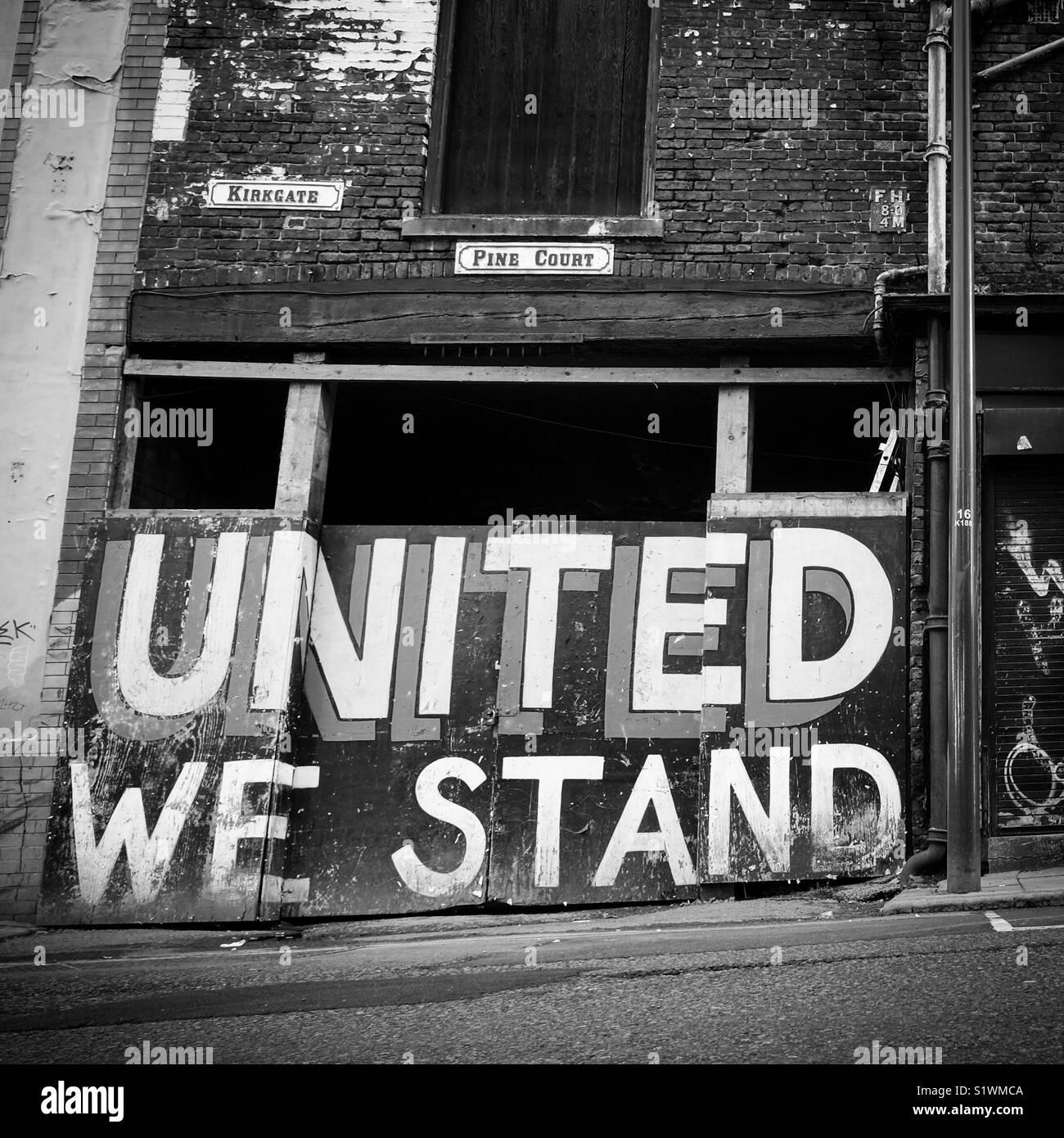 United we stand. Leeds, West Yorkshire, Reino Unido Imagen De Stock
