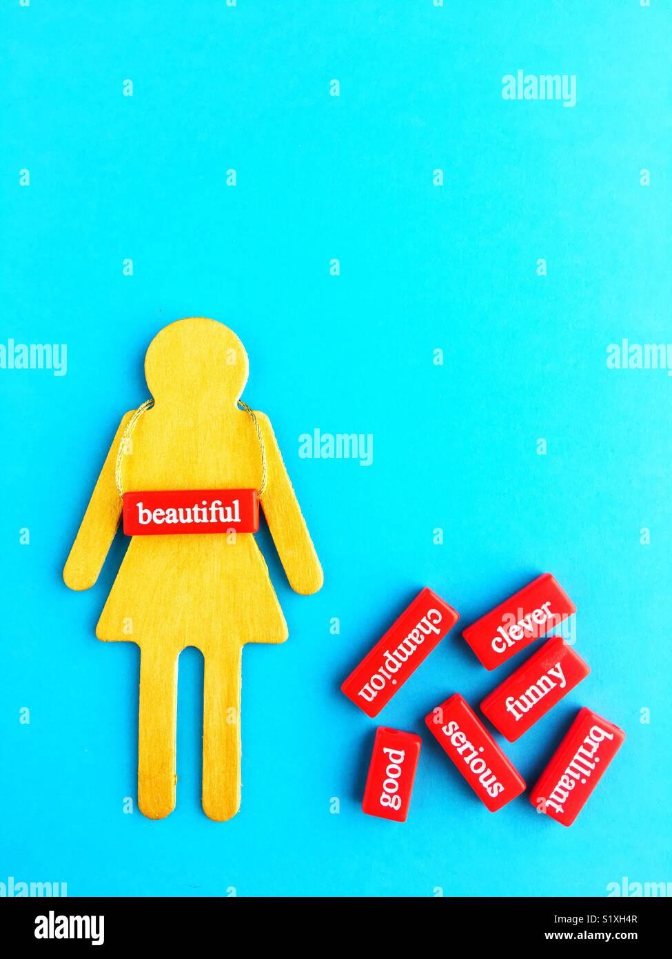 Conceptual: estereotipo de género. Imagen De Stock