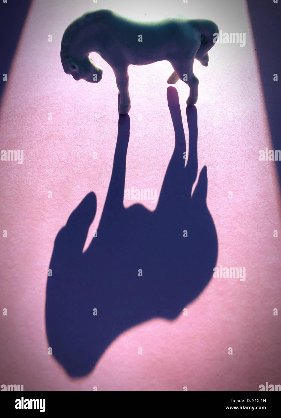 Figurilla de caballos y la sombra. Imagen De Stock