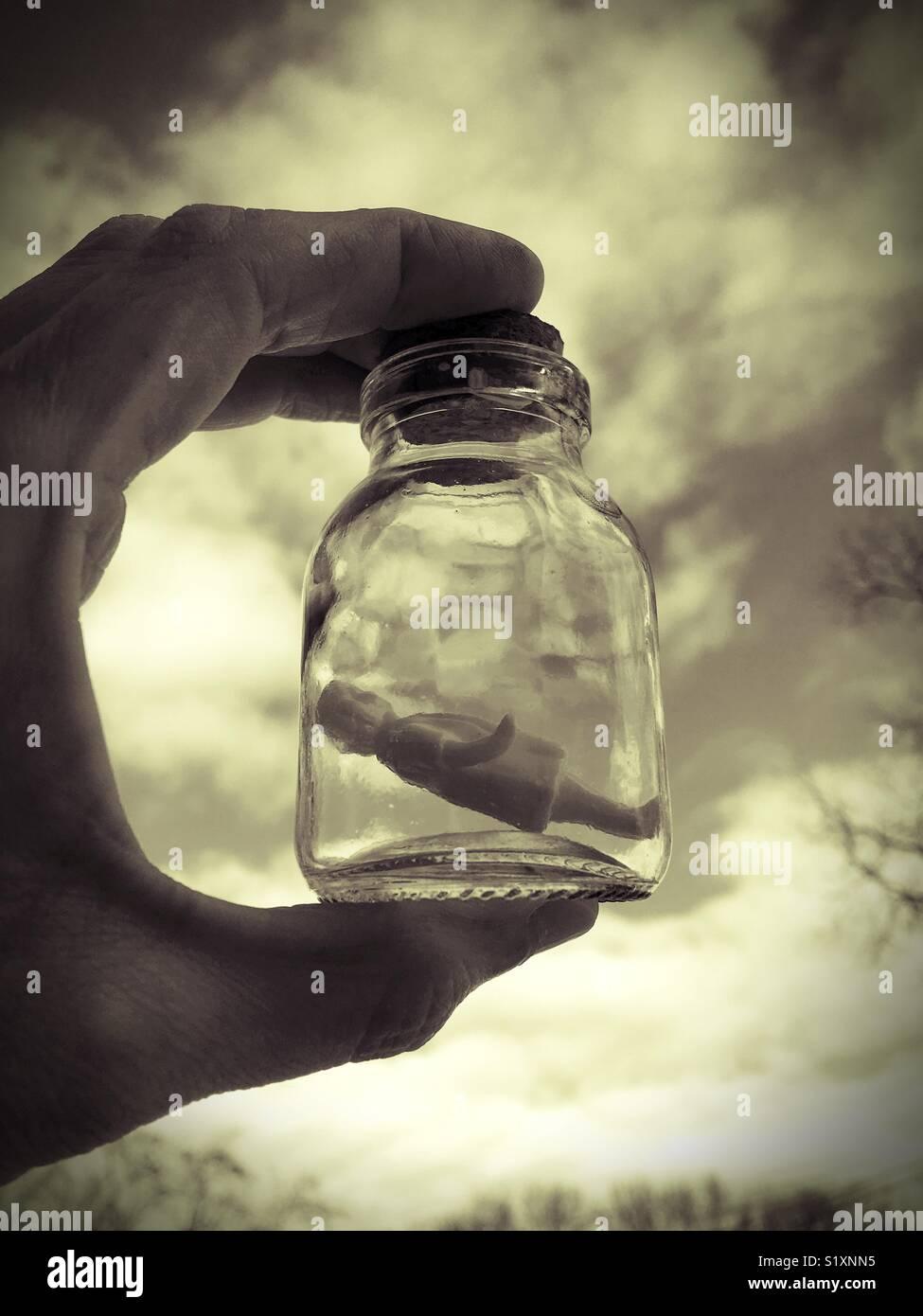 Un pequeño muñeco estatuilla vintage style dentro de una botella. Imagen De Stock