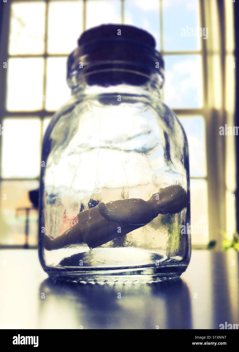 Una antigua figurilla de una chica dentro de un frasco tapado. Imagen De Stock