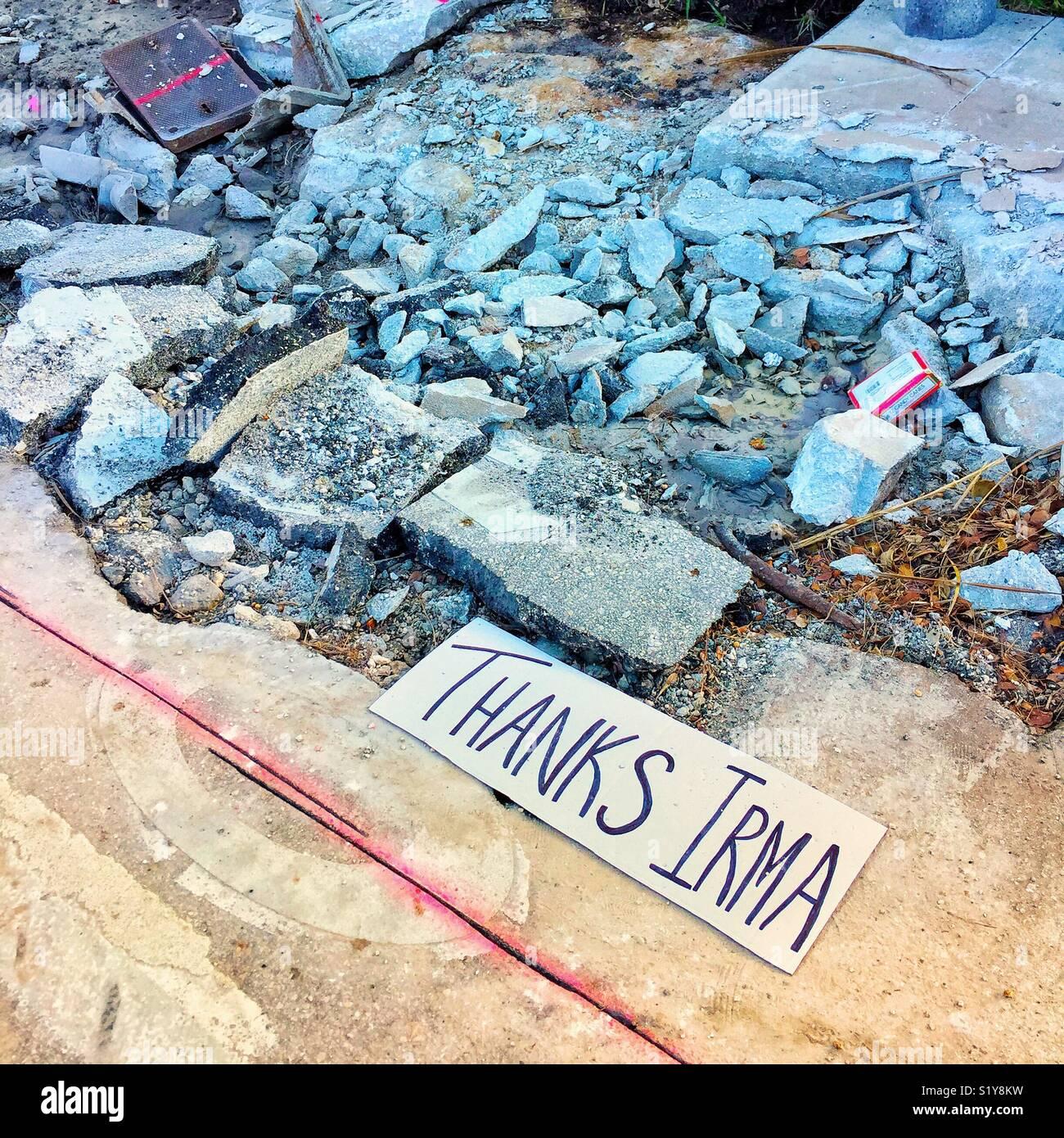 Después de la devastación del huracán Irma en Hollywood Beach, Florida, EE.UU. Imagen De Stock