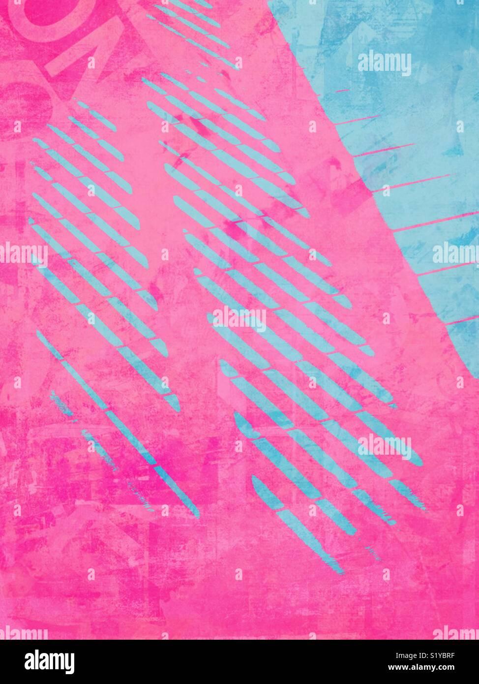 Sombra rosa cayendo sobre la pasarela azul. Imagen De Stock