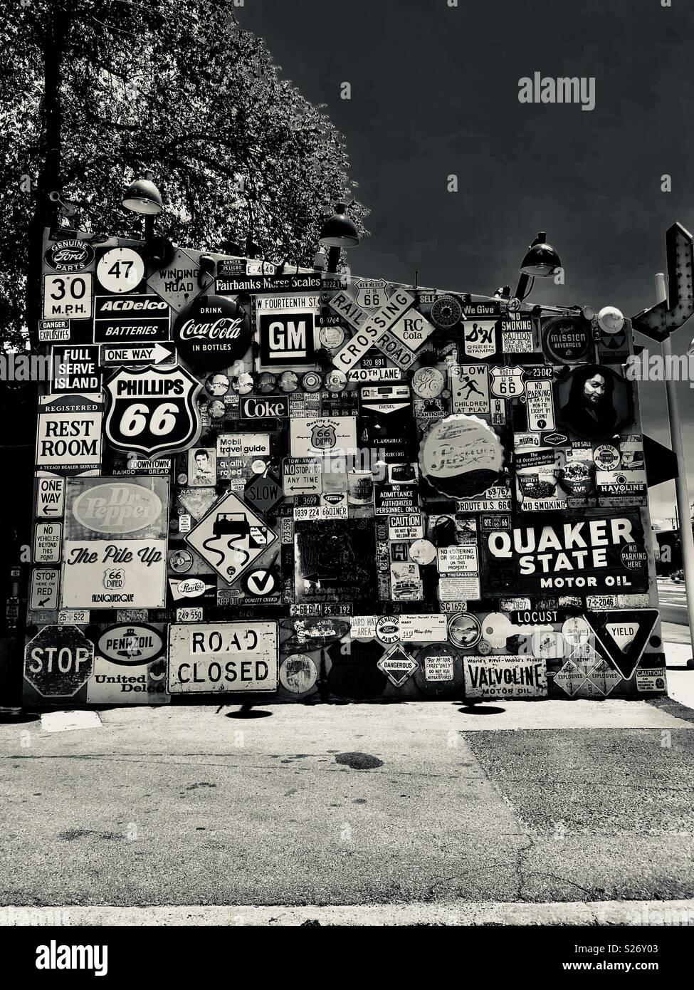 Route 66 muro en Albuquerque, Nuevo México Imagen De Stock