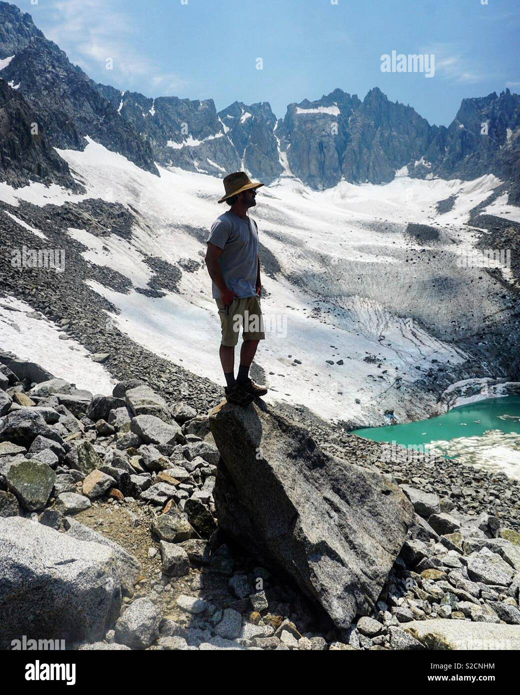 Justin Ferguson en empalizada glaciar Imagen De Stock