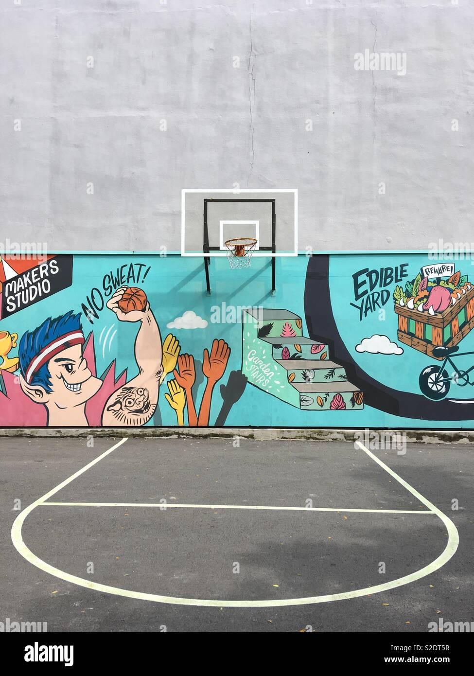 Cancha de baloncesto. Imagen De Stock