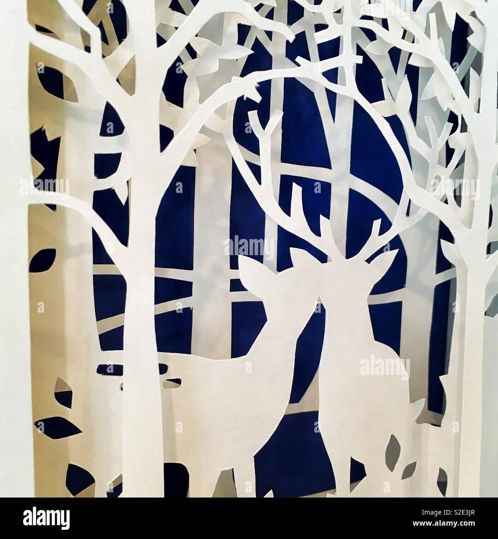 Corte de papel invierno Imagen De Stock