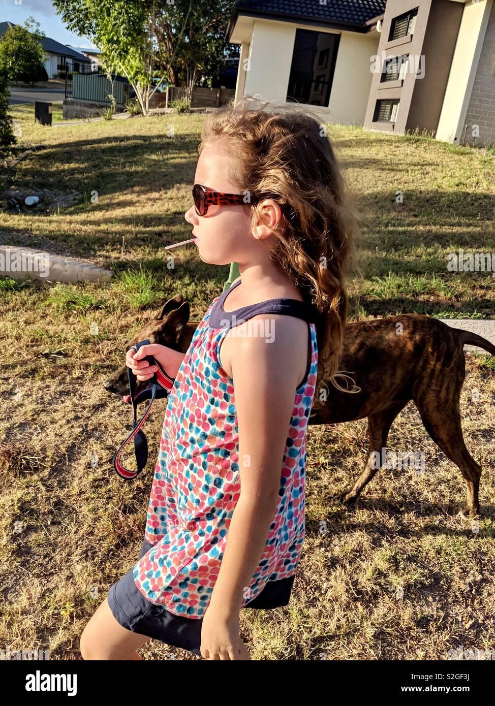 Chica paseando a su perro. Foto de stock