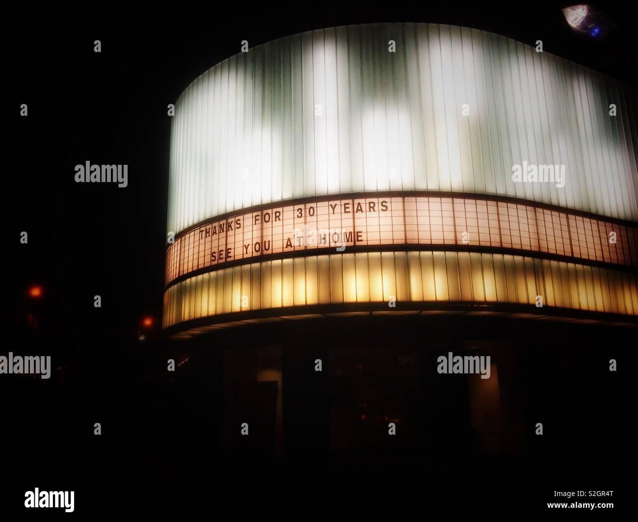 El mensaje de despedida en el cine Cornerhouse en Manchester. Imagen De Stock