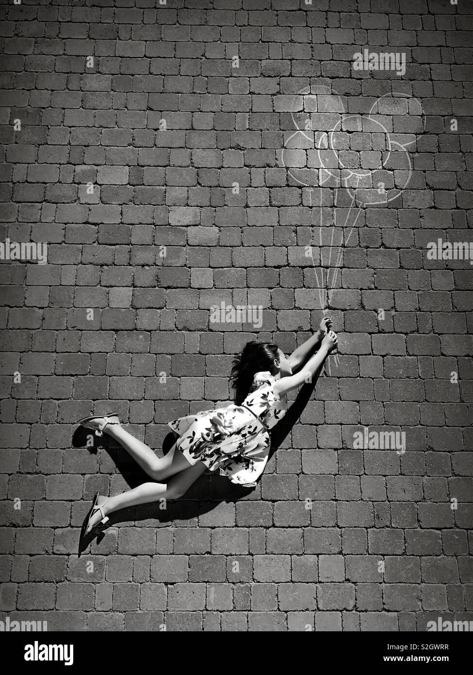 Volando alto hacia arriba y lejos Foto de stock