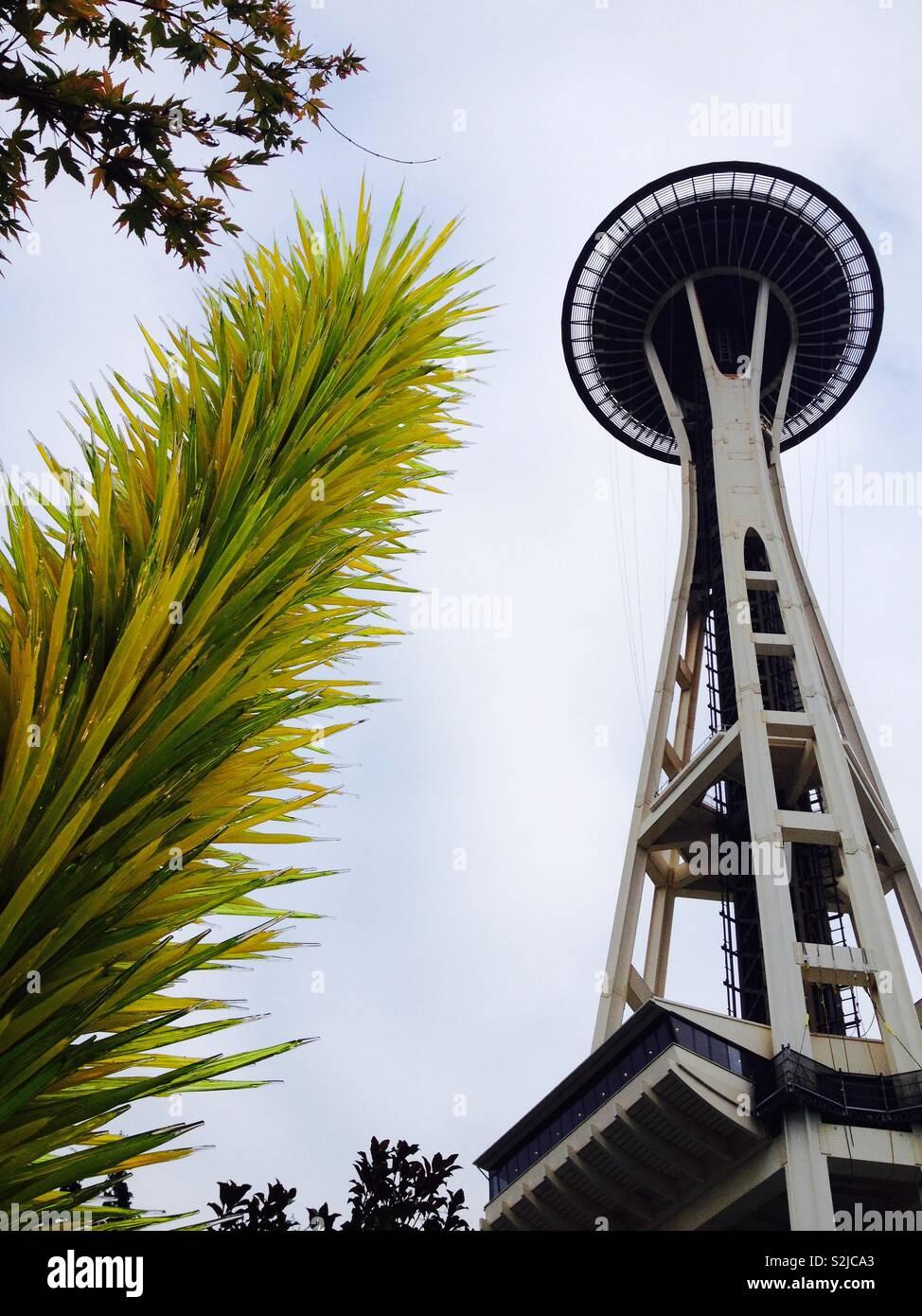 La Aguja Espacial de Seattle Foto de stock