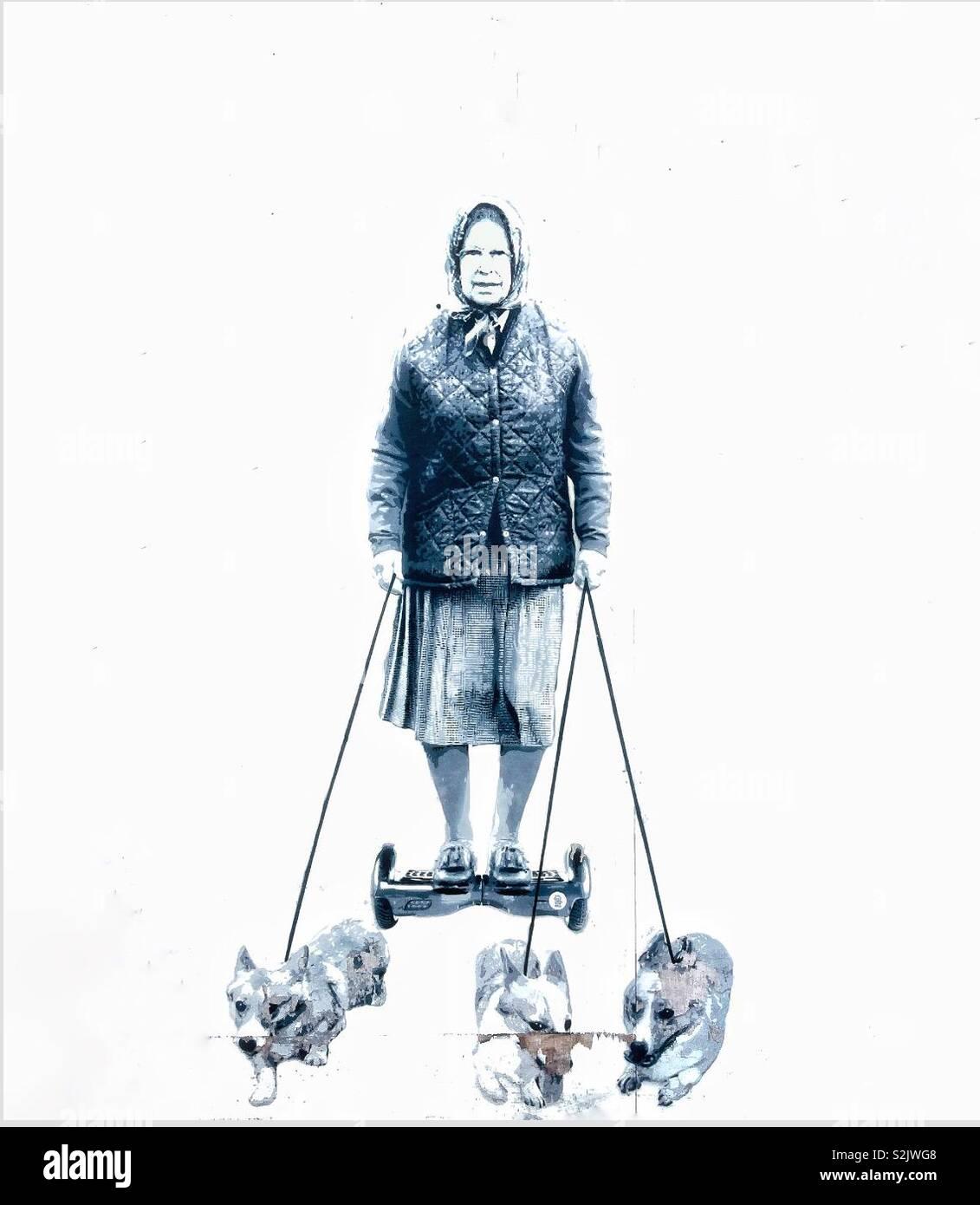 Su Majestad la Reina en un hoverboard con perros Street art. Foto de stock