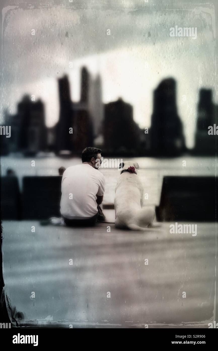 Hombre de mediana edad sentarse con su perro por el East River viendo Manhattan Midtown paisaje urbano Imagen De Stock