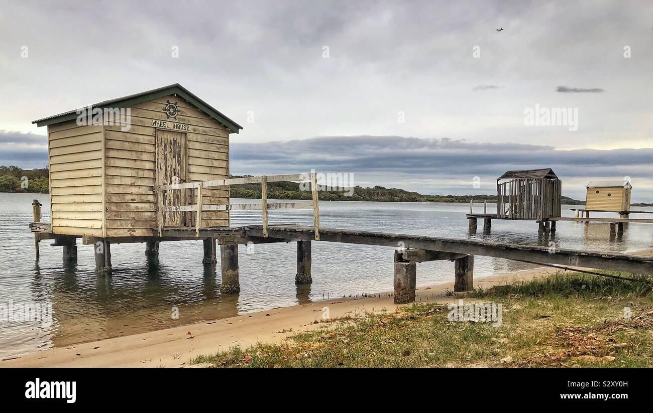Cobertizos maroochydore río Sunshine Coast Qld Foto de stock