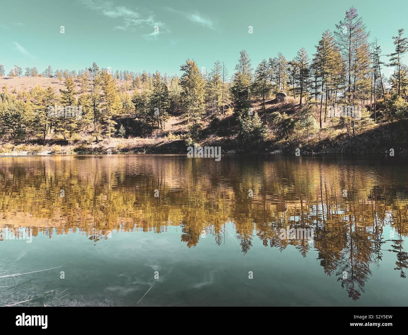 Paisaje otoñal con árboles y cielo reflejando en el lago. Foto de stock