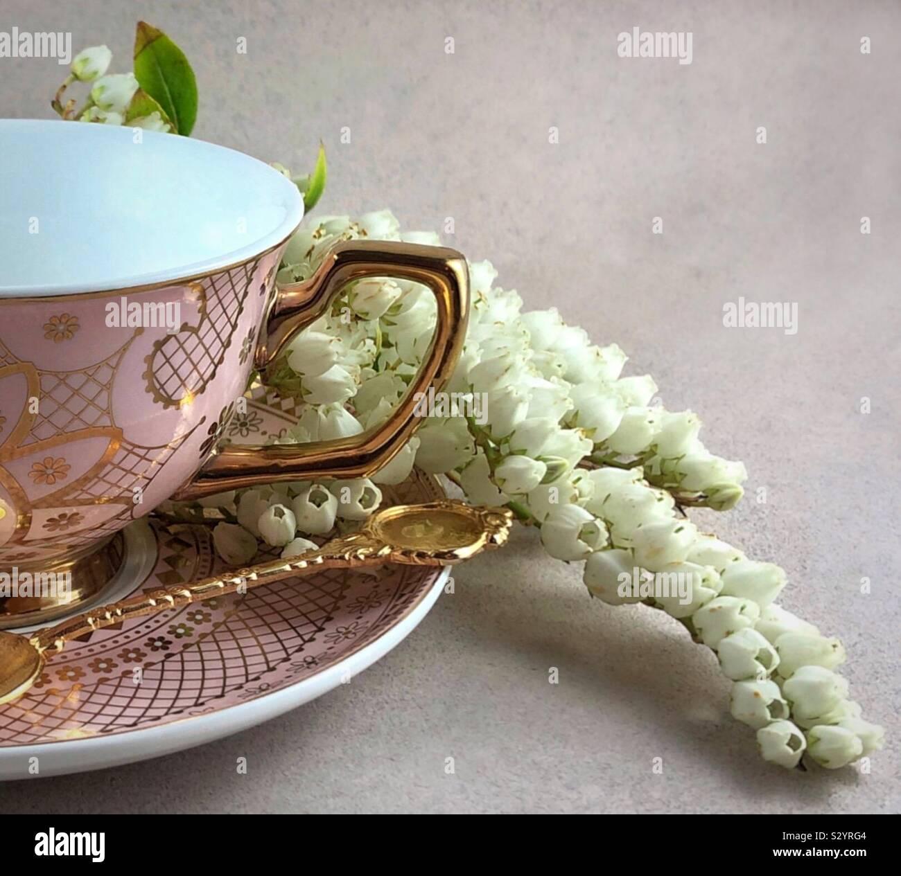 Taza y plato de té con flor Foto de stock