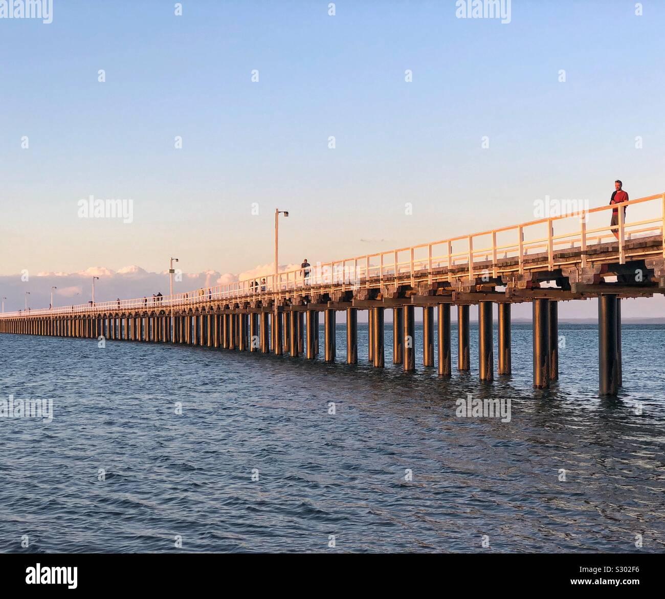 Pier Urangan Hervey Bay Fraser Coast de Queensland, Australia Foto de stock