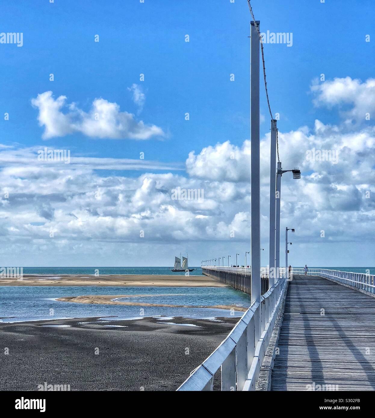 Pier Urangan Hervey Bay Queensland Australia Fraser Coast Tall Ship Foto de stock