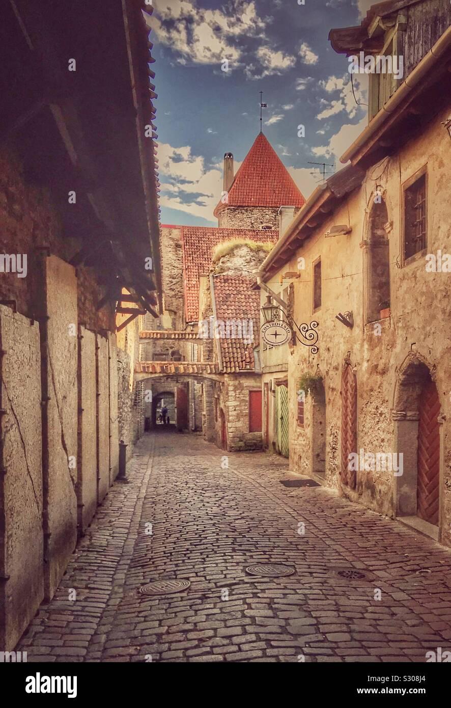 Pasaje de Santa Catalina (Katariina kaik) en el casco antiguo de Tallin, Estonia Foto de stock