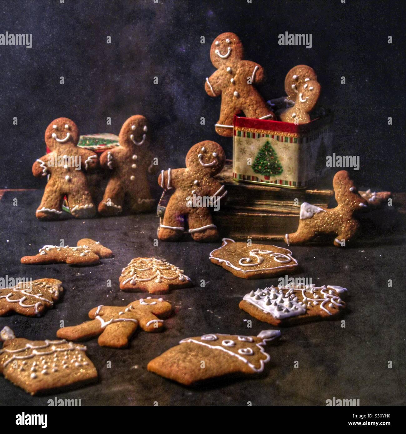 Las galletas de jengibre, colocado en una lata de estaño colocados sobre los libros Foto de stock
